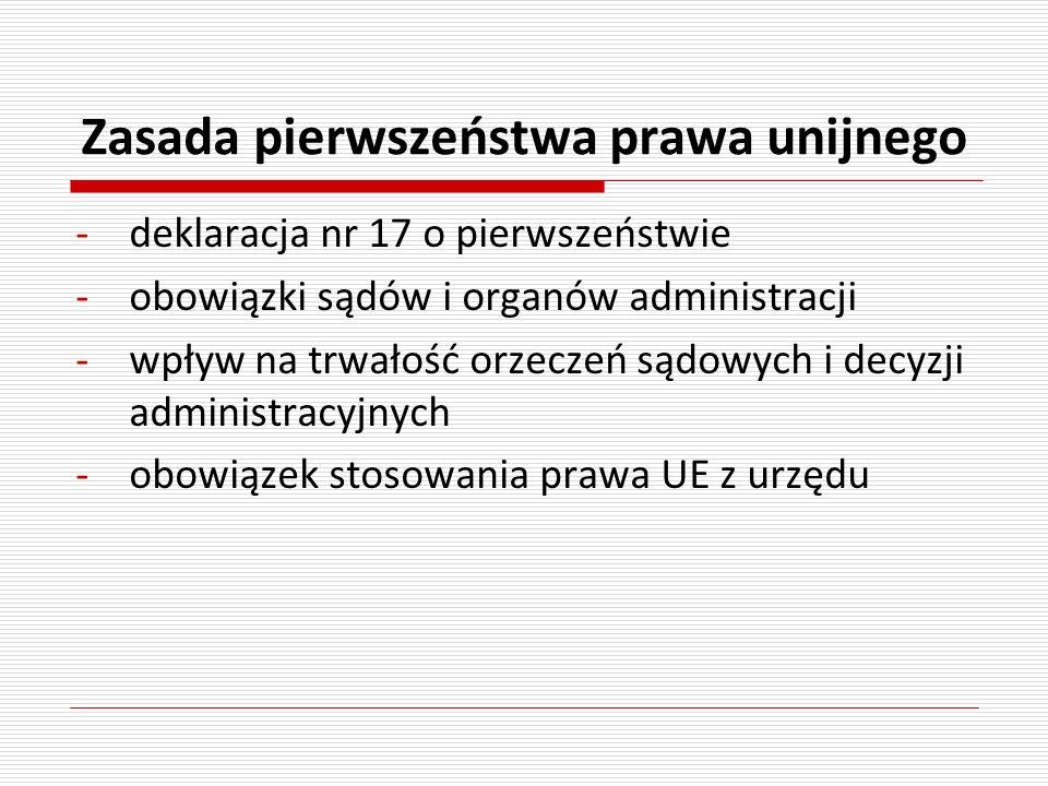 Zasada pierwszeństwa prawa unijnego -deklaracja nr 17 o pierwszeństwie -obowiązki sądów i organów administracji -wpływ na trwałość orzeczeń sądowych i