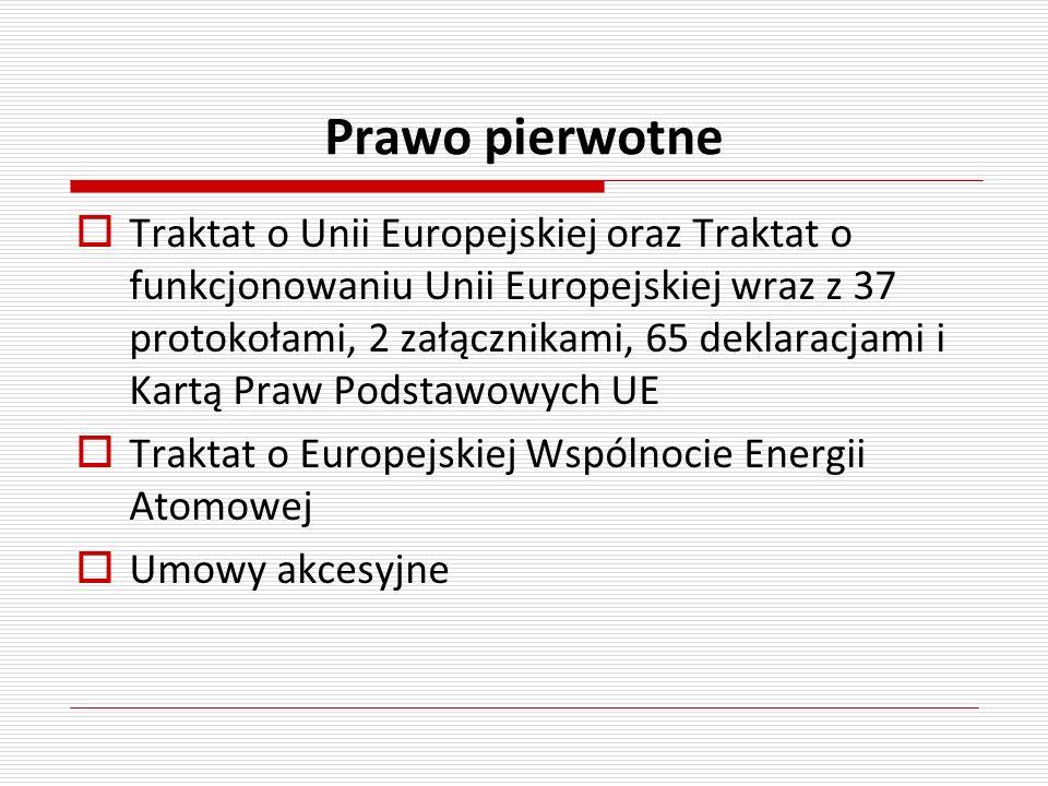 Prawo pierwotne Traktat o Unii Europejskiej oraz Traktat o funkcjonowaniu Unii Europejskiej wraz z 37 protokołami, 2 załącznikami, 65 deklaracjami i K