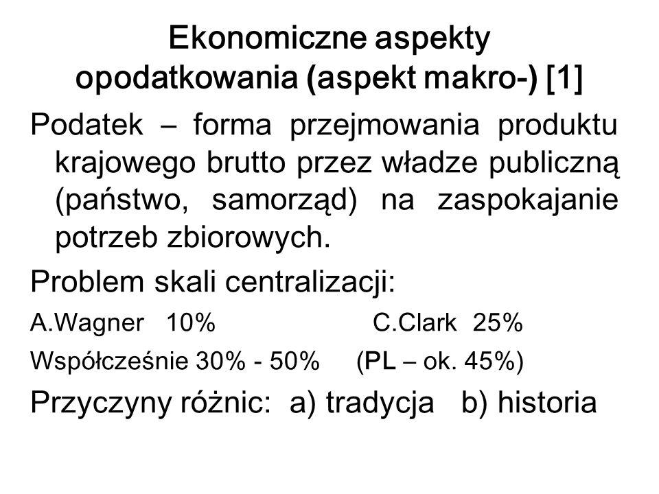Ekonomiczne aspekty opodatkowania ( aspekt makro- ) [1] Podatek – forma przejmowania produktu krajowego brutto przez władze publiczną (państwo, samorz
