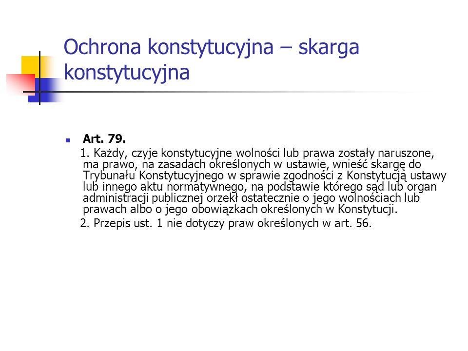 Ochrona konstytucyjna – skarga konstytucyjna Art. 79. 1. Każdy, czyje konstytucyjne wolności lub prawa zostały naruszone, ma prawo, na zasadach określ