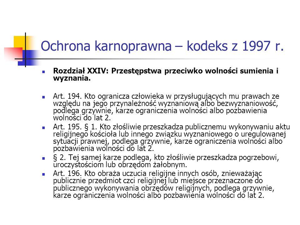 Ochrona karnoprawna – kodeks z 1997 r. Rozdział XXIV: Przestępstwa przeciwko wolności sumienia i wyznania. Art. 194. Kto ogranicza człowieka w przysłu