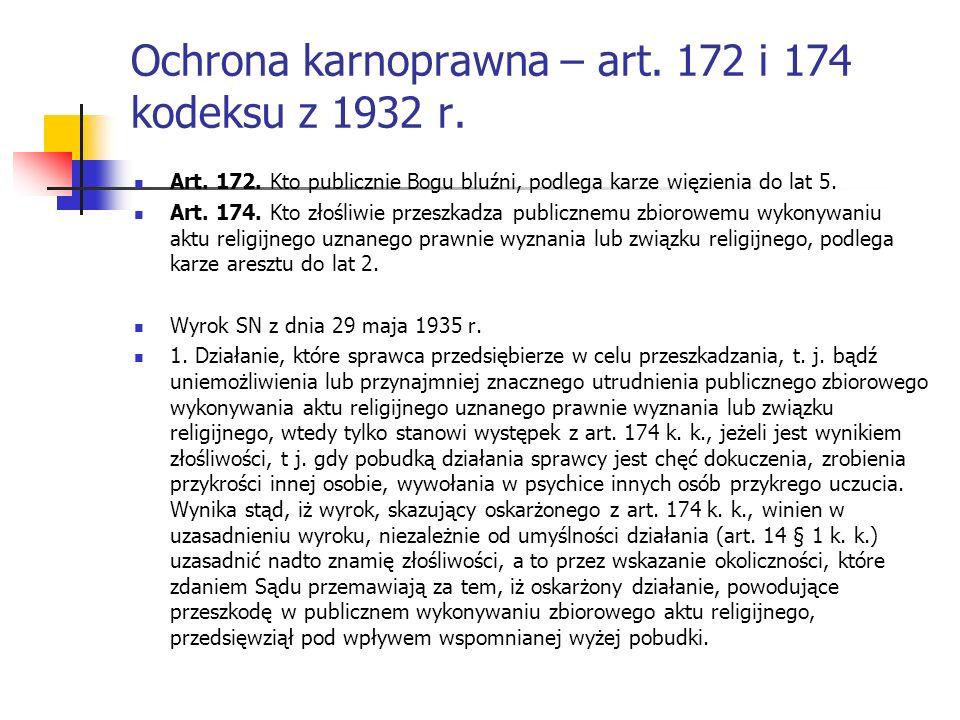 Ochrona karnoprawna – art. 172 i 174 kodeksu z 1932 r. Art. 172. Kto publicznie Bogu bluźni, podlega karze więzienia do lat 5. Art. 174. Kto złośliwie