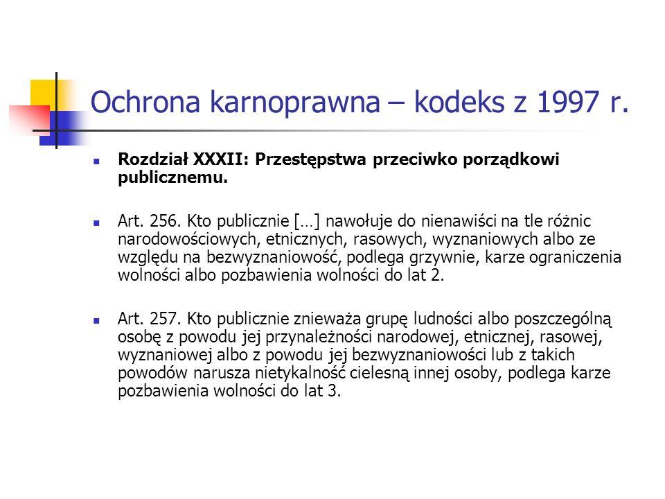 Ochrona karnoprawna – kodeks z 1997 r. Rozdział XXXII: Przestępstwa przeciwko porządkowi publicznemu. Art. 256. Kto publicznie […] nawołuje do nienawi
