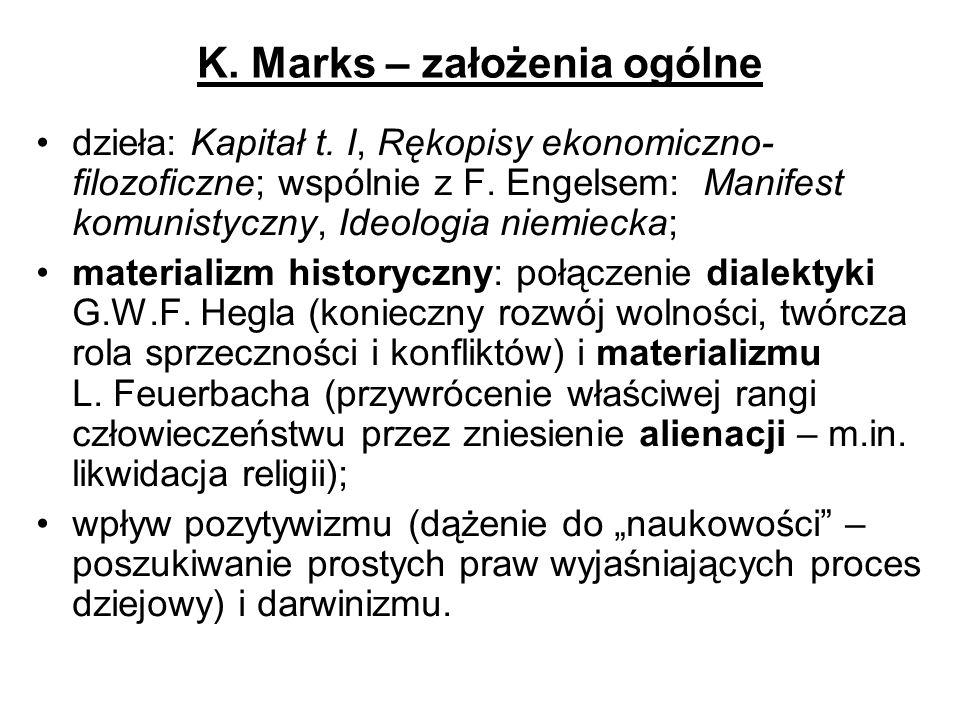K. Marks – założenia ogólne dzieła: Kapitał t. I, Rękopisy ekonomiczno- filozoficzne; wspólnie z F. Engelsem: Manifest komunistyczny, Ideologia niemie