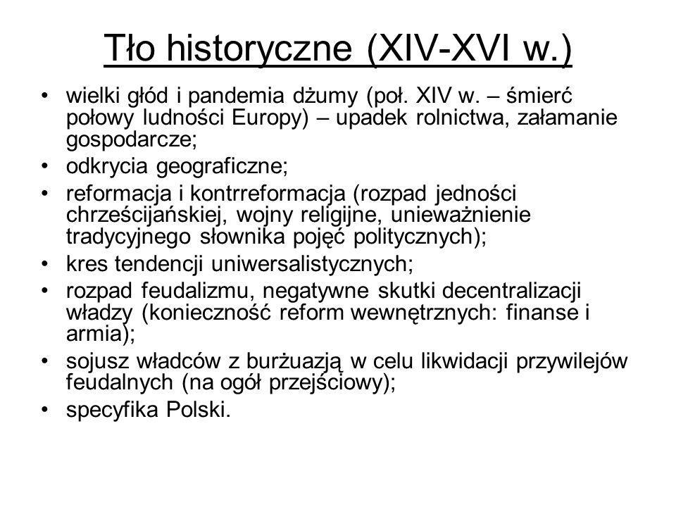 Tło historyczne (XIV-XVI w.) wielki głód i pandemia dżumy (poł. XIV w. – śmierć połowy ludności Europy) – upadek rolnictwa, załamanie gospodarcze; odk