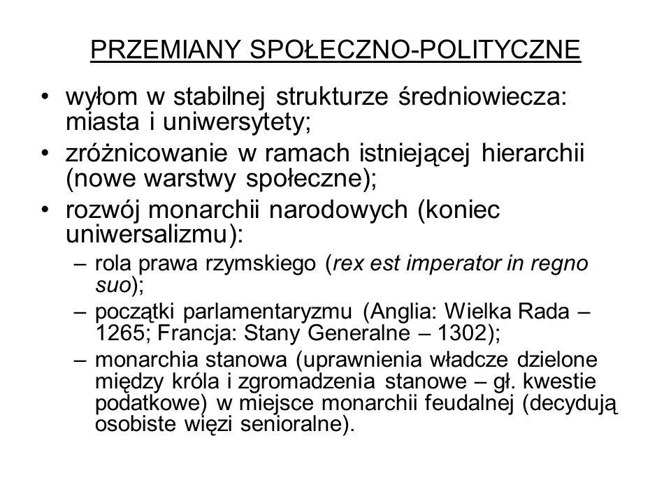 PRZEMIANY SPOŁECZNO-POLITYCZNE wyłom w stabilnej strukturze średniowiecza: miasta i uniwersytety; zróżnicowanie w ramach istniejącej hierarchii (nowe