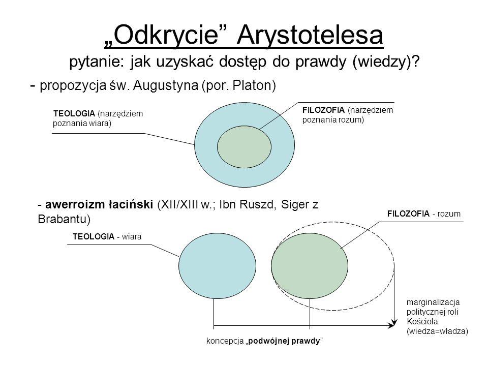 Odkrycie Arystotelesa pytanie: jak uzyskać dostęp do prawdy (wiedzy)? - propozycja św. Augustyna (por. Platon) - awerroizm łaciński (XII/XIII w.; Ibn