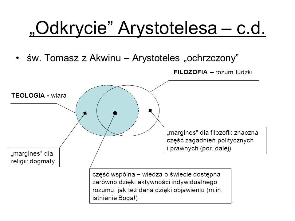Odkrycie Arystotelesa – c.d. św. Tomasz z Akwinu – Arystoteles ochrzczony FILOZOFIA – rozum ludzki margines dla filozofii: znaczna część zagadnień pol