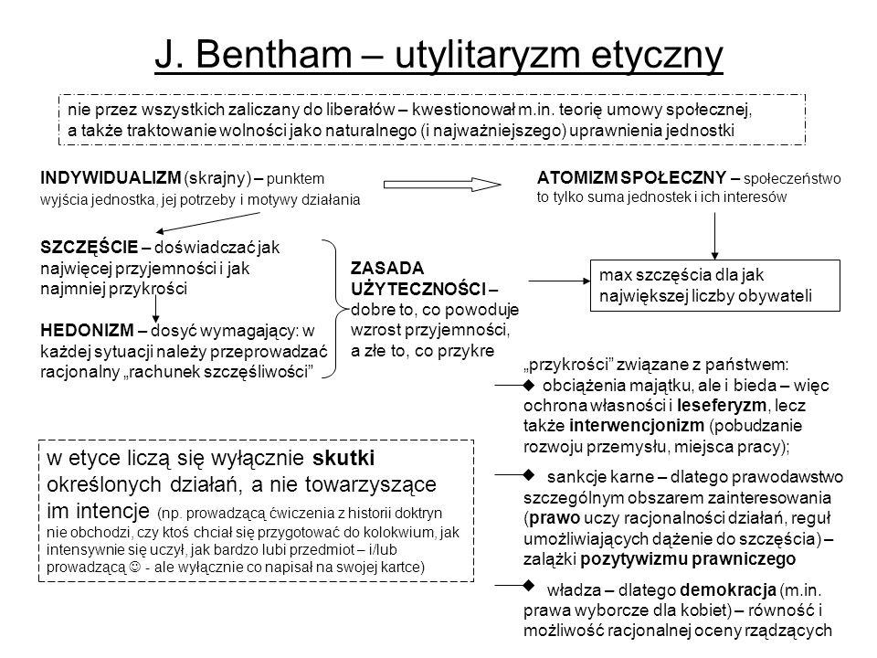 J.Bentham – utylitaryzm etyczny nie przez wszystkich zaliczany do liberałów – kwestionował m.in.