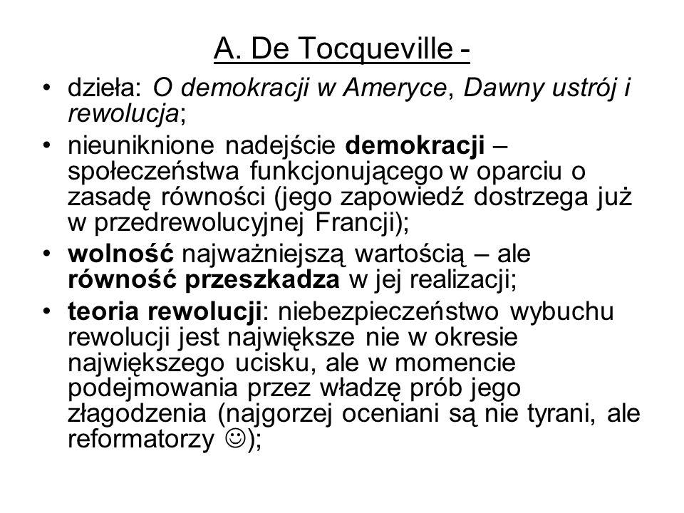 A. De Tocqueville - dzieła: O demokracji w Ameryce, Dawny ustrój i rewolucja; nieuniknione nadejście demokracji – społeczeństwa funkcjonującego w opar