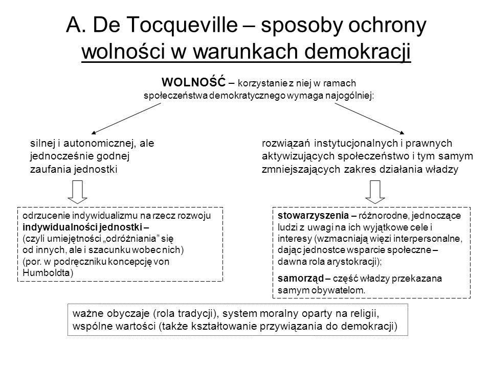 A. De Tocqueville – sposoby ochrony wolności w warunkach demokracji WOLNOŚĆ – korzystanie z niej w ramach społeczeństwa demokratycznego wymaga najogól