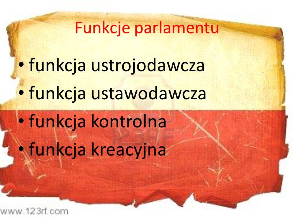 Funkcje parlamentu funkcja ustrojodawcza funkcja ustawodawcza funkcja kontrolna funkcja kreacyjna