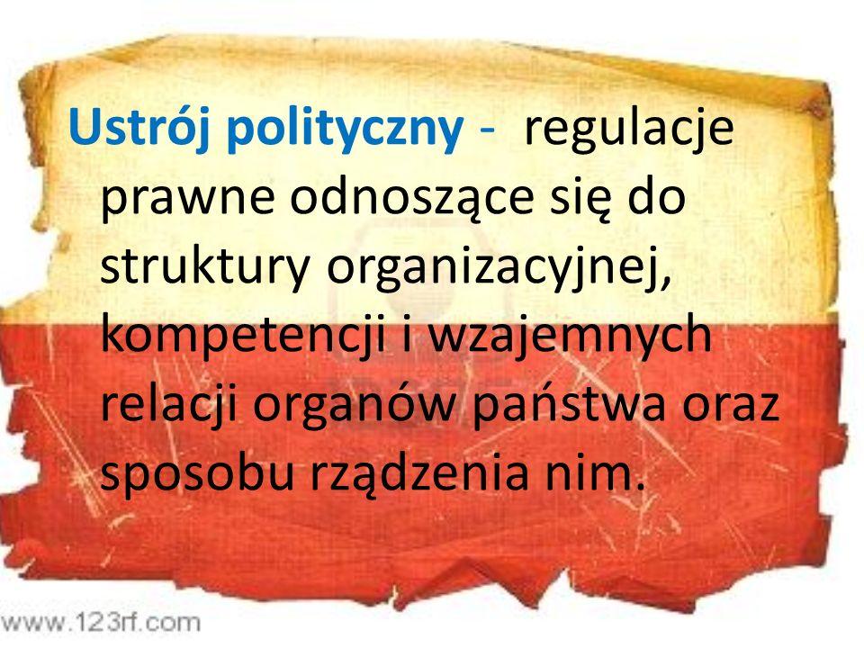 Ustrój polityczny - regulacje prawne odnoszące się do struktury organizacyjnej, kompetencji i wzajemnych relacji organów państwa oraz sposobu rządzeni