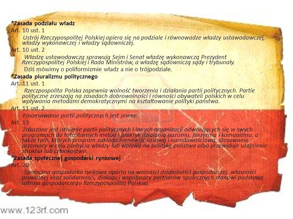 *Zasada podziału władz Art. 10 ust. 1 Ustrój Rzeczypospolitej Polskiej opiera się na podziale i równowadze władzy ustawodawczej, władzy wykonawczej i