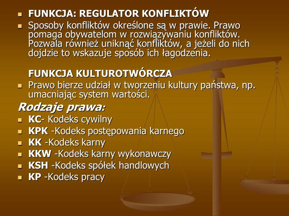 FUNKCJA: REGULATOR KONFLIKTÓW FUNKCJA: REGULATOR KONFLIKTÓW Sposoby konfliktów określone są w prawie. Prawo pomaga obywatelom w rozwiązywaniu konflikt
