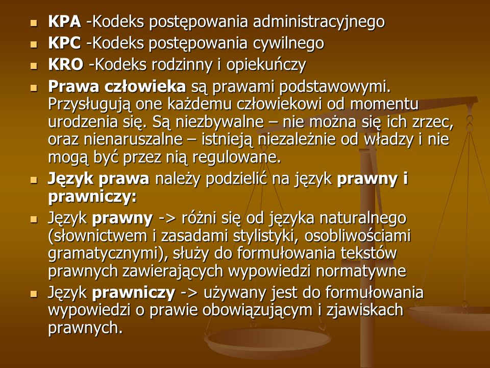 KPA -Kodeks postępowania administracyjnego KPA -Kodeks postępowania administracyjnego KPC -Kodeks postępowania cywilnego KPC -Kodeks postępowania cywi