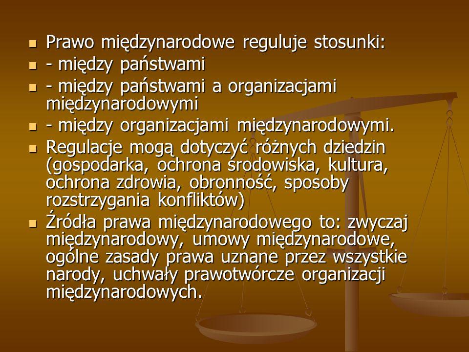 Prawo międzynarodowe reguluje stosunki: Prawo międzynarodowe reguluje stosunki: - między państwami - między państwami - między państwami a organizacja