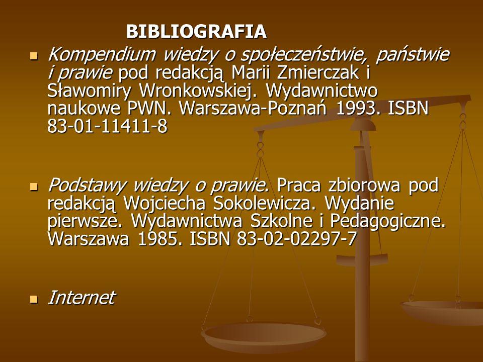 BIBLIOGRAFIA Kompendium wiedzy o społeczeństwie, państwie i prawie pod redakcją Marii Zmierczak i Sławomiry Wronkowskiej. Wydawnictwo naukowe PWN. War