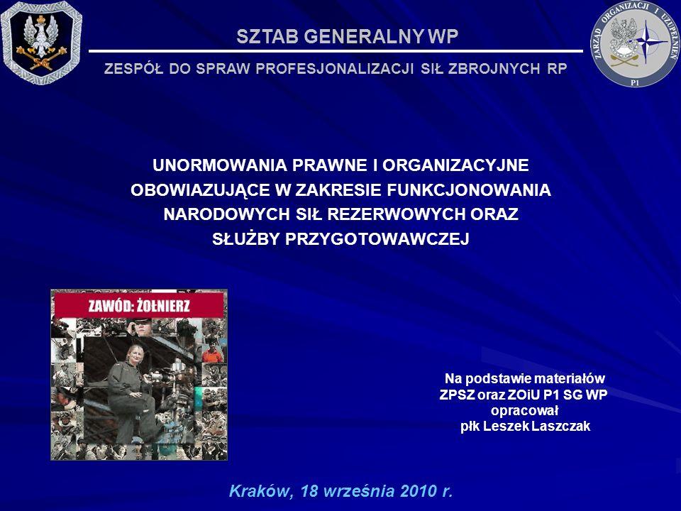 UNORMOWANIA PRAWNE I ORGANIZACYJNE OBOWIAZUJĄCE W ZAKRESIE FUNKCJONOWANIA NARODOWYCH SIŁ REZERWOWYCH ORAZ SŁUŻBY PRZYGOTOWAWCZEJ Kraków, 18 września 2