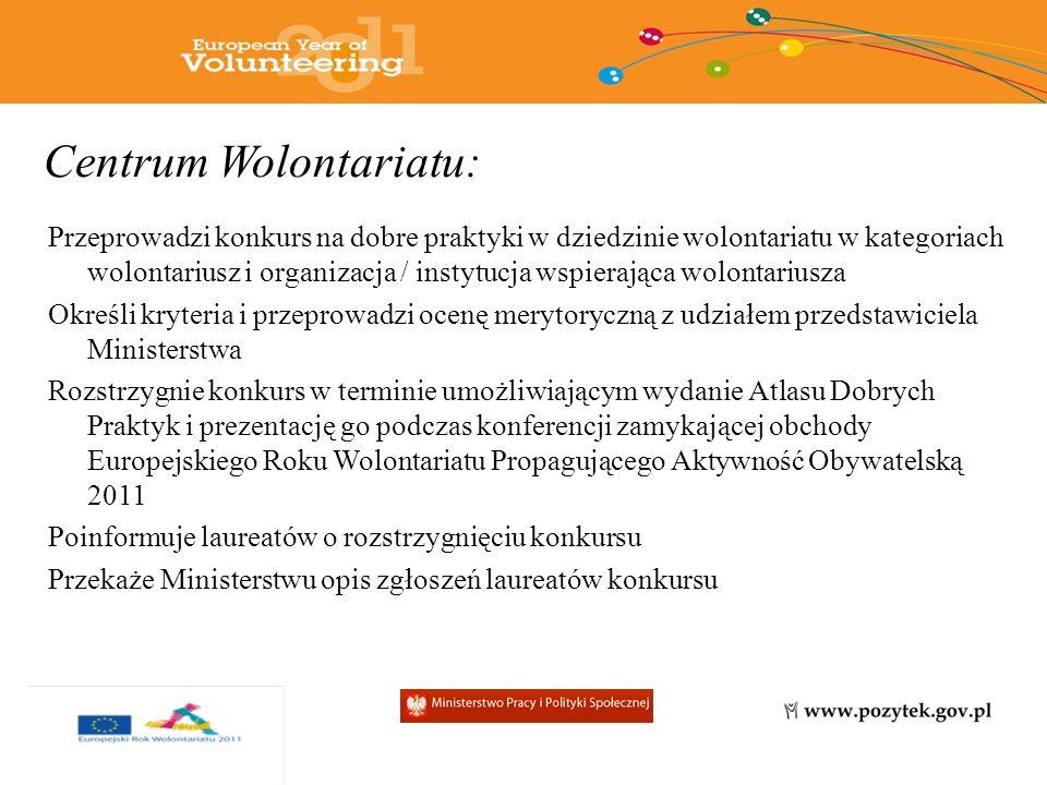 Centrum Wolontariatu: Przeprowadzi konkurs na dobre praktyki w dziedzinie wolontariatu w kategoriach wolontariusz i organizacja / instytucja wspierająca wolontariusza Określi kryteria i przeprowadzi ocenę merytoryczną z udziałem przedstawiciela Ministerstwa Rozstrzygnie konkurs w terminie umożliwiającym wydanie Atlasu Dobrych Praktyk i prezentację go podczas konferencji zamykającej obchody Europejskiego Roku Wolontariatu Propagującego Aktywność Obywatelską 2011 Poinformuje laureatów o rozstrzygnięciu konkursu Przekaże Ministerstwu opis zgłoszeń laureatów konkursu