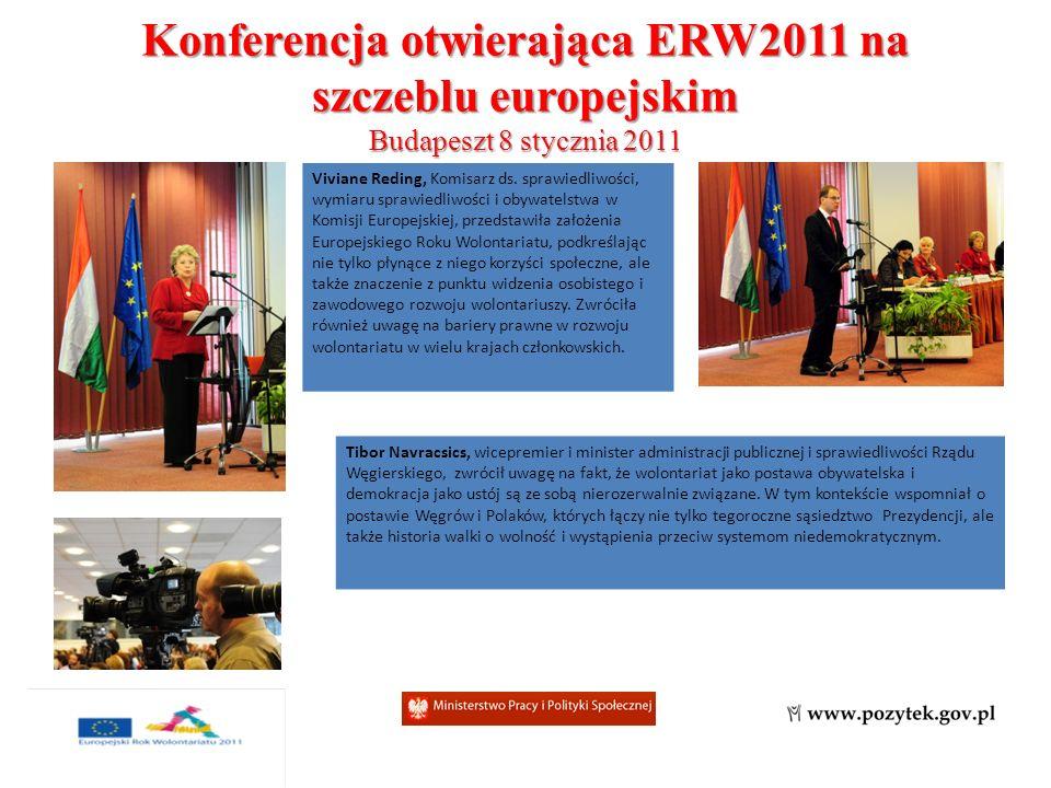 Konferencja otwierająca ERW2011 na szczeblu europejskim Budapeszt 8 stycznia 2011 Viviane Reding, Komisarz ds.