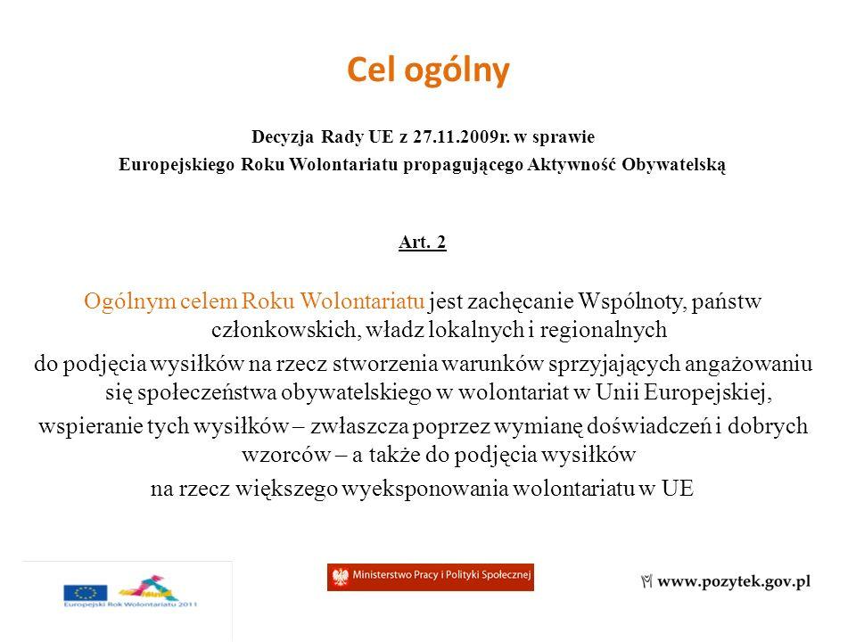 Cele szczegółowe 1.Tworzenie sprzyjającego otoczenia dla wolontariatu w UE – wolontariat jako trwały element propagowania aktywności obywatelskiej i działań międzyludzkich 2.