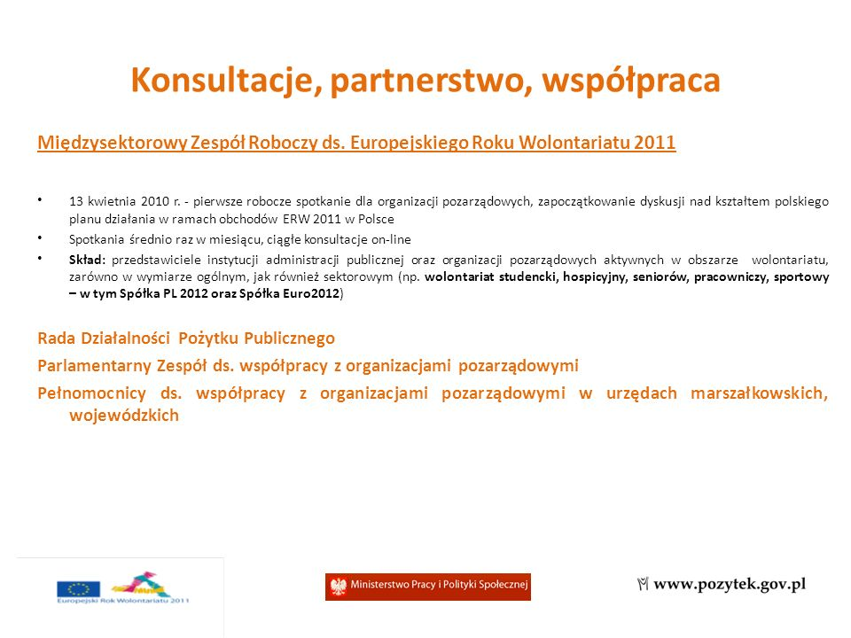 Międzysektorowy Zespół Roboczy ds. Europejskiego Roku Wolontariatu 2011 13 kwietnia 2010 r.