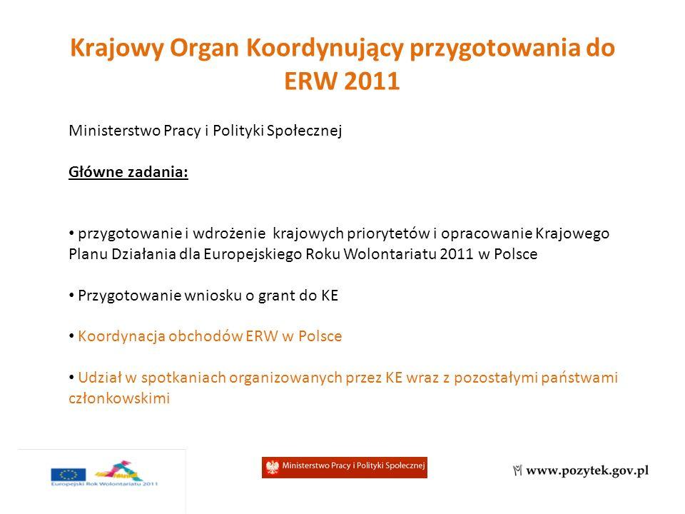 Krajowy Organ Koordynujący przygotowania do ERW 2011 Ministerstwo Pracy i Polityki Społecznej Główne zadania: przygotowanie i wdrożenie krajowych priorytetów i opracowanie Krajowego Planu Działania dla Europejskiego Roku Wolontariatu 2011 w Polsce Przygotowanie wniosku o grant do KE Koordynacja obchodów ERW w Polsce Udział w spotkaniach organizowanych przez KE wraz z pozostałymi państwami członkowskimi