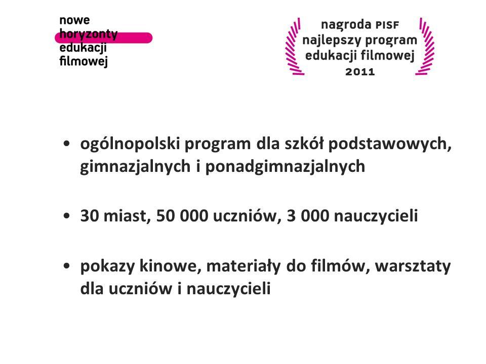 ogólnopolski program dla szkół podstawowych, gimnazjalnych i ponadgimnazjalnych 30 miast, 50 000 uczniów, 3 000 nauczycieli pokazy kinowe, materiały d