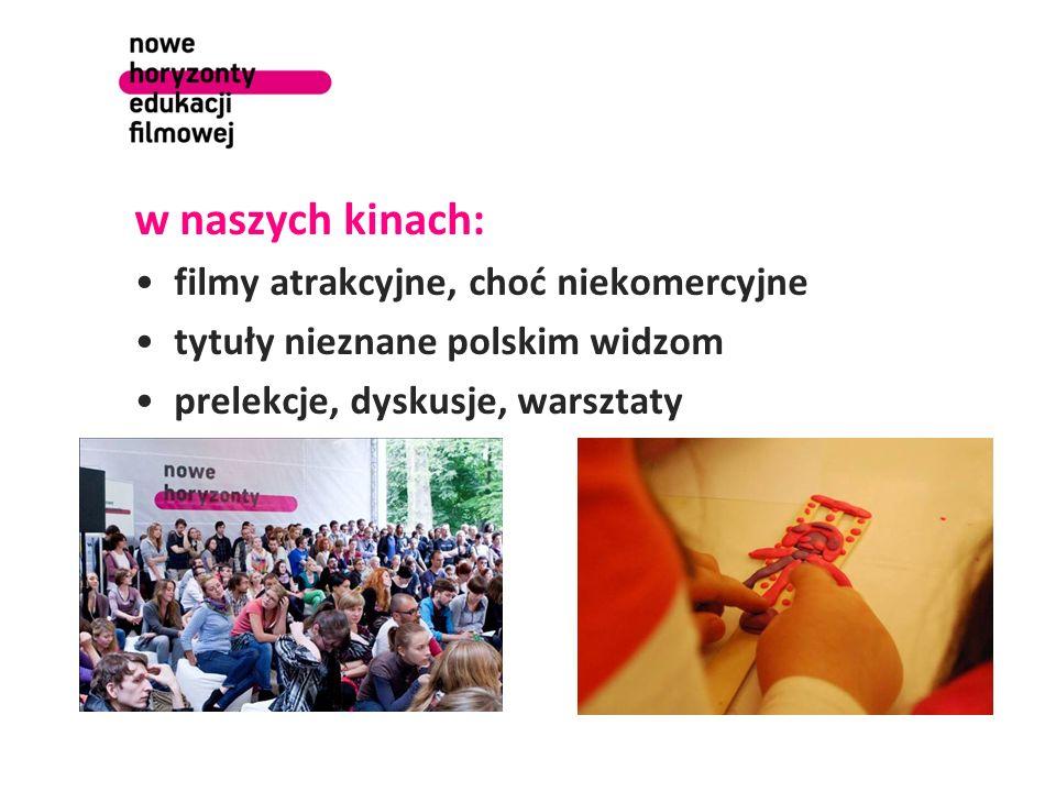 w naszych kinach: filmy atrakcyjne, choć niekomercyjne tytuły nieznane polskim widzom prelekcje, dyskusje, warsztaty