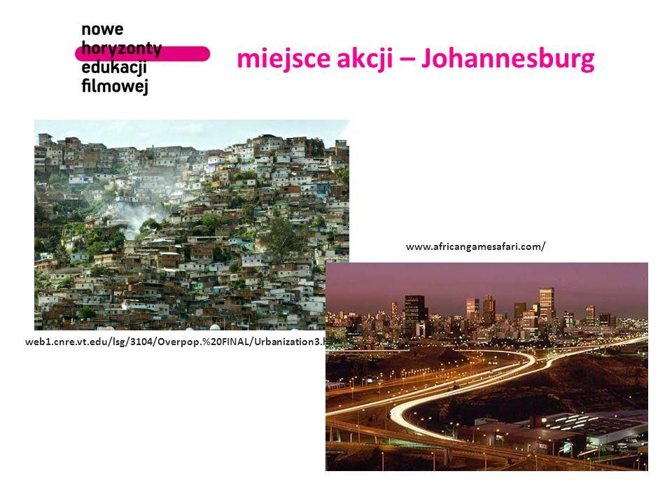 miejsce akcji – Johannesburg web1.cnre.vt.edu/lsg/3104/Overpop.%20FINAL/Urbanization3.html www.africangamesafari.com/