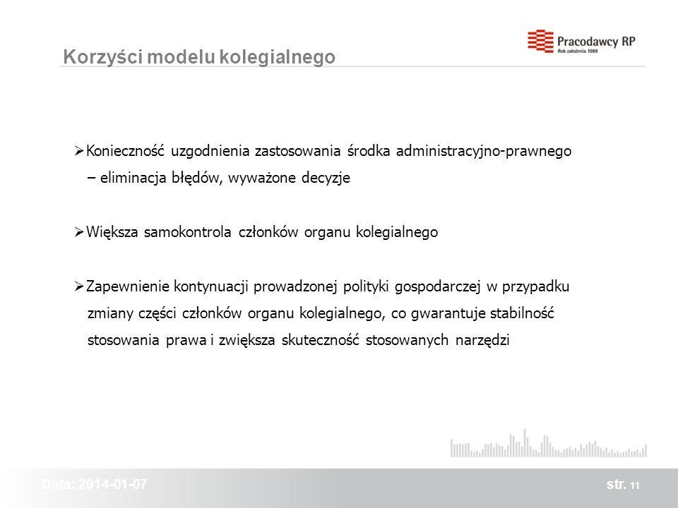 Data: 2014-01-07str. 11 Korzyści modelu kolegialnego Konieczność uzgodnienia zastosowania środka administracyjno-prawnego – eliminacja błędów, wyważon