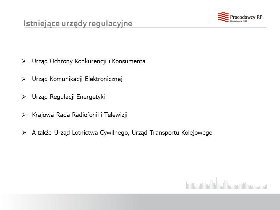 Istniejące urzędy regulacyjne Urząd Ochrony Konkurencji i Konsumenta Urząd Komunikacji Elektronicznej Urząd Regulacji Energetyki Krajowa Rada Radiofonii i Telewizji A także Urząd Lotnictwa Cywilnego, Urząd Transportu Kolejowego