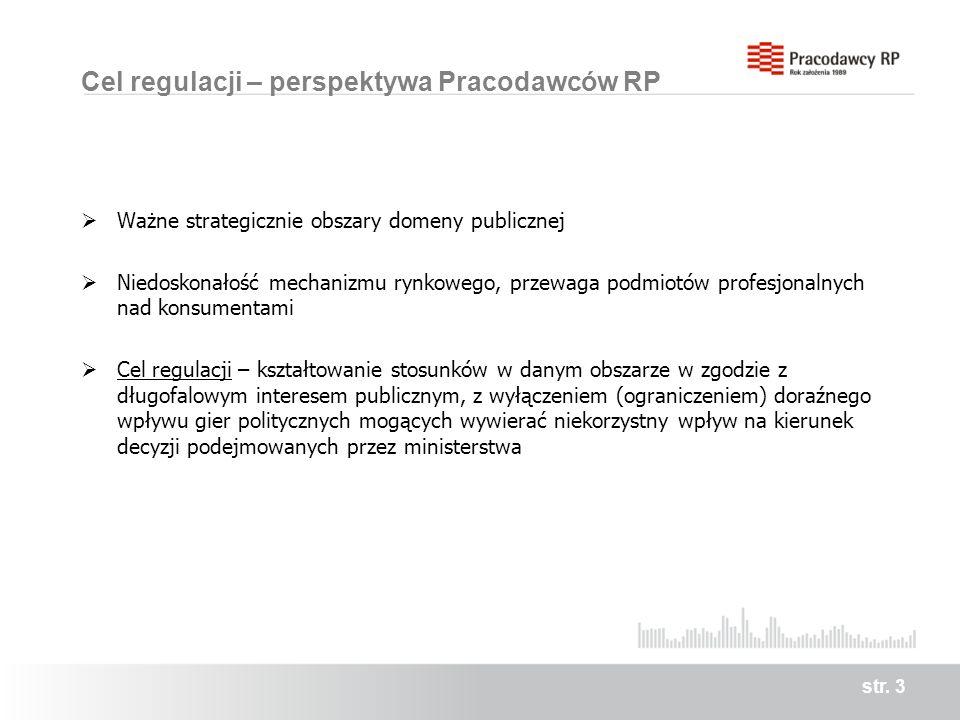 Cel regulacji – perspektywa Pracodawców RP Ważne strategicznie obszary domeny publicznej Niedoskonałość mechanizmu rynkowego, przewaga podmiotów profesjonalnych nad konsumentami Cel regulacji – kształtowanie stosunków w danym obszarze w zgodzie z długofalowym interesem publicznym, z wyłączeniem (ograniczeniem) doraźnego wpływu gier politycznych mogących wywierać niekorzystny wpływ na kierunek decyzji podejmowanych przez ministerstwa str.