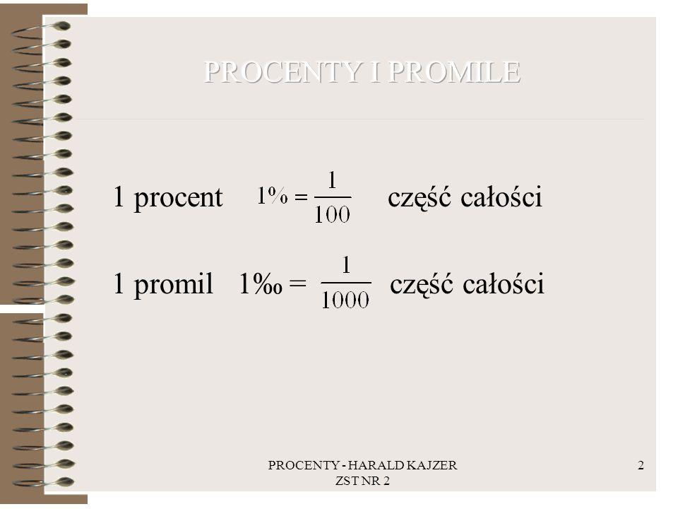 PROCENTY - HARALD KAJZER ZST NR 2 13 Zadanie: Ile należy zapłacić podatku dochodowego, jeżeli przychód w 2012 roku wyniósł 100000 zł.
