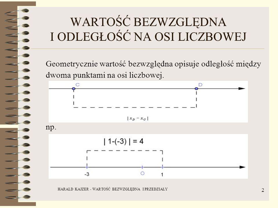 HARALD KAJZER - WARTOŚĆ BEZWZGLĘDNA I PRZEDZIAŁY 2 WARTOŚĆ BEZWZGLĘDNA I ODLEGŁOŚĆ NA OSI LICZBOWEJ Geometrycznie wartość bezwzględna opisuje odległoś