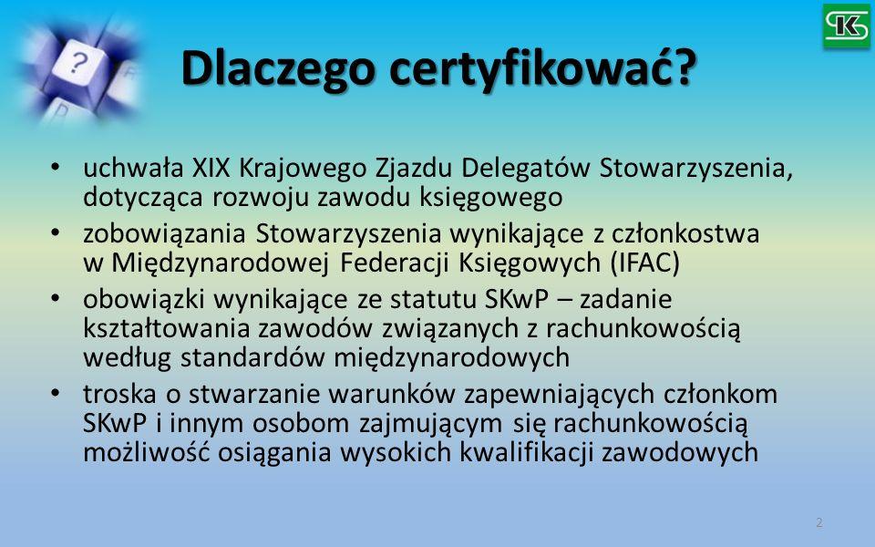 Dlaczego certyfikować? Dlaczego certyfikować? uchwała XIX Krajowego Zjazdu Delegatów Stowarzyszenia, dotycząca rozwoju zawodu księgowego zobowiązania
