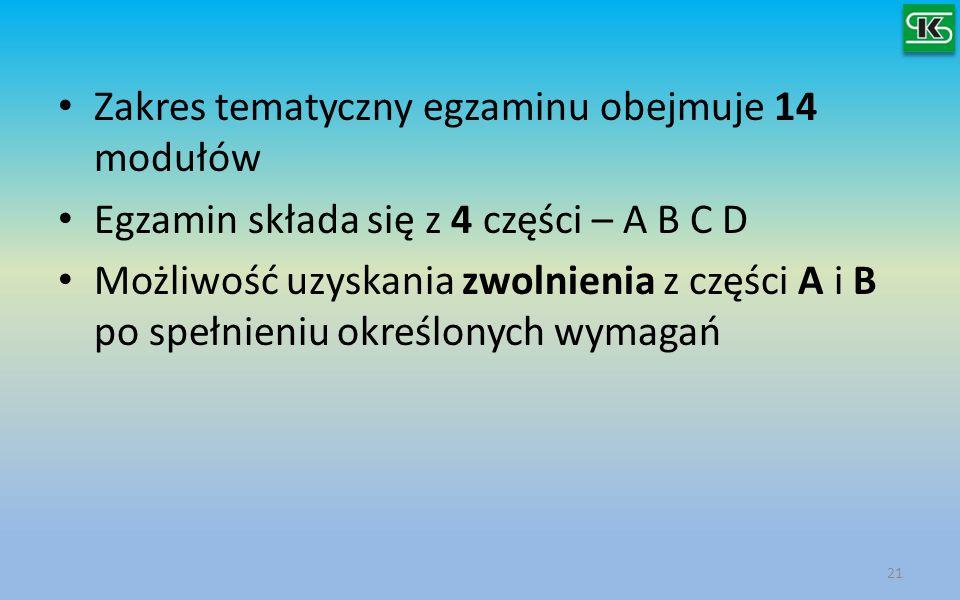 Zakres tematyczny egzaminu obejmuje 14 modułów Egzamin składa się z 4 części – A B C D Możliwość uzyskania zwolnienia z części A i B po spełnieniu okr
