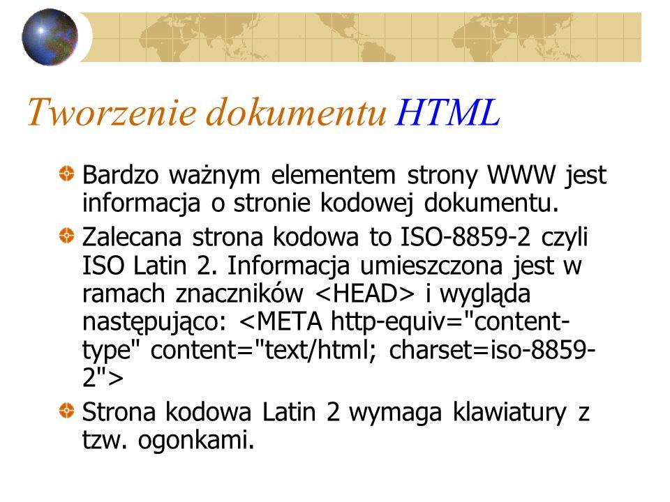 Tworzenie dokumentu HTML Bardzo ważnym elementem strony WWW jest informacja o stronie kodowej dokumentu. Zalecana strona kodowa to ISO-8859-2 czyli IS