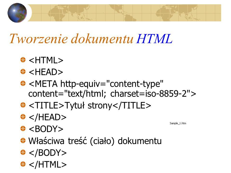 Tworzenie dokumentu HTML Tytuł strony Właściwa treść (ciało) dokumentu