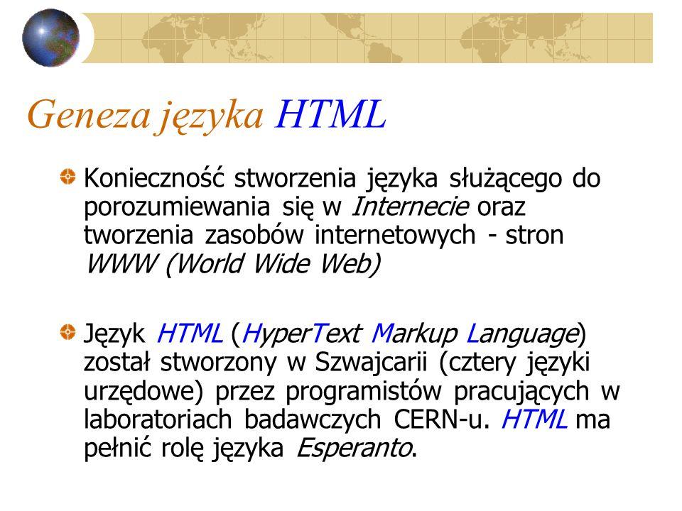 Tworzenie dokumentu HTML – pożyteczne uwagi Projektując dokument HTML należy bezwzględnie unikać komunikatów typu: strona w budowie (web side under construction) Zakończony dokument koniecznie należy przetestować, najlepiej używając monitora monochromatycznego (czarno-białego)