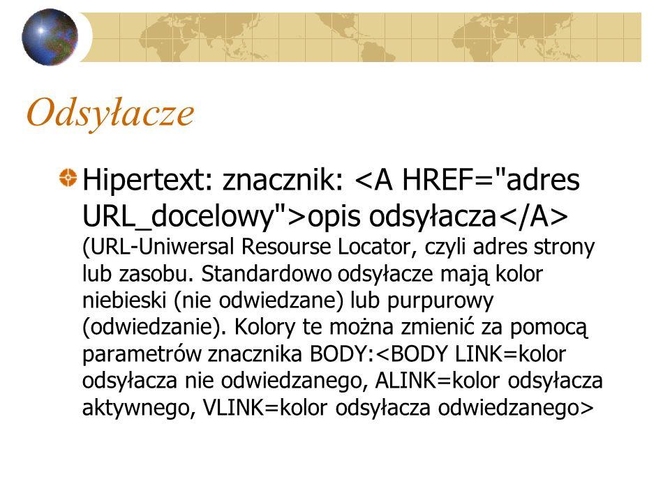 Odsyłacze Hipertext: znacznik: opis odsyłacza (URL-Uniwersal Resourse Locator, czyli adres strony lub zasobu. Standardowo odsyłacze mają kolor niebies