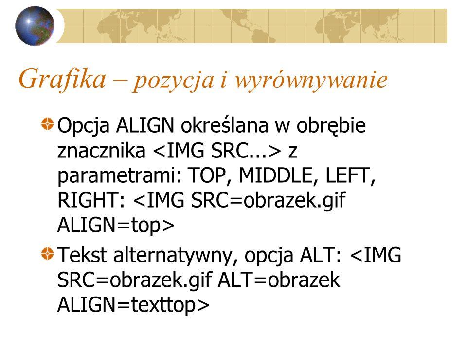 Grafika – pozycja i wyrównywanie Opcja ALIGN określana w obrębie znacznika z parametrami: TOP, MIDDLE, LEFT, RIGHT: Tekst alternatywny, opcja ALT: