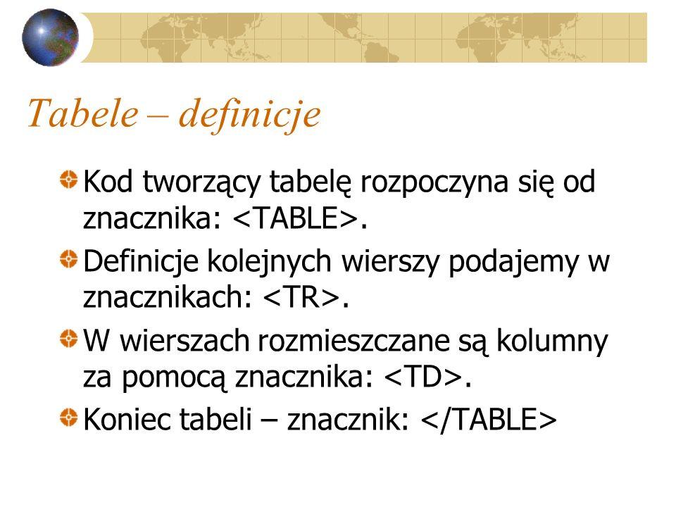 Tabele – definicje Kod tworzący tabelę rozpoczyna się od znacznika:. Definicje kolejnych wierszy podajemy w znacznikach:. W wierszach rozmieszczane są