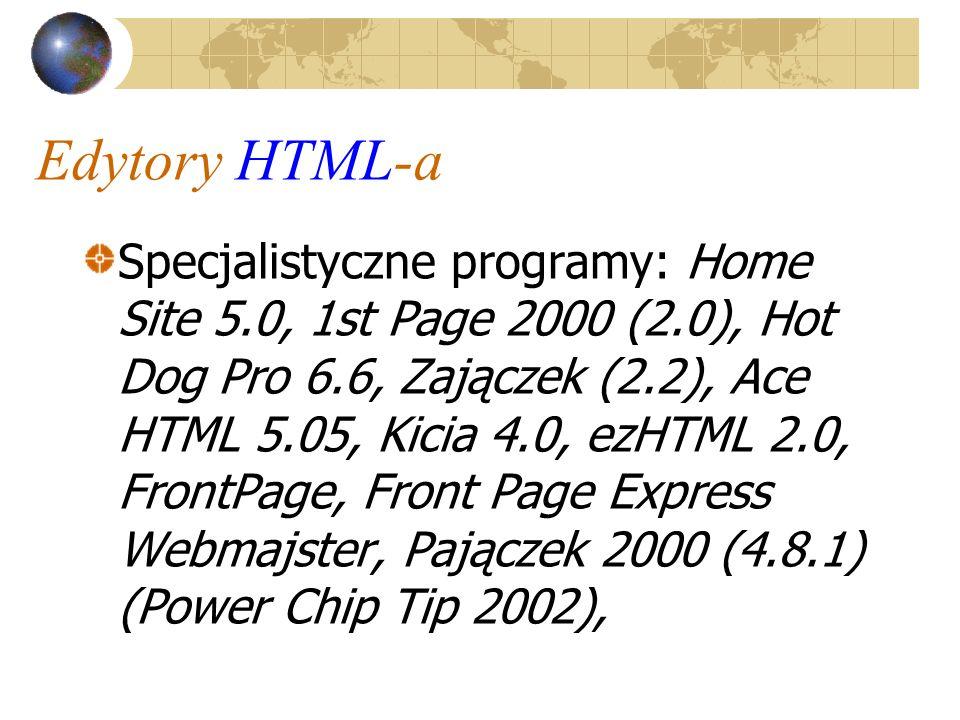 Edytory HTML-a Specjalistyczne programy: Home Site 5.0, 1st Page 2000 (2.0), Hot Dog Pro 6.6, Zajączek (2.2), Ace HTML 5.05, Kicia 4.0, ezHTML 2.0, Fr