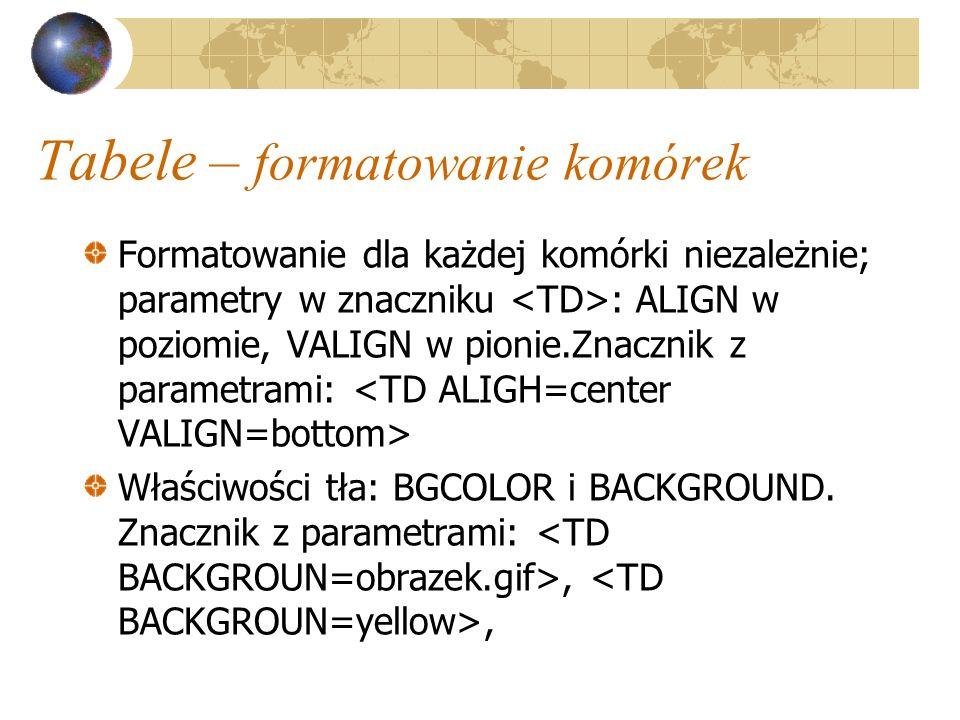 Tabele – formatowanie komórek Formatowanie dla każdej komórki niezależnie; parametry w znaczniku : ALIGN w poziomie, VALIGN w pionie.Znacznik z parame
