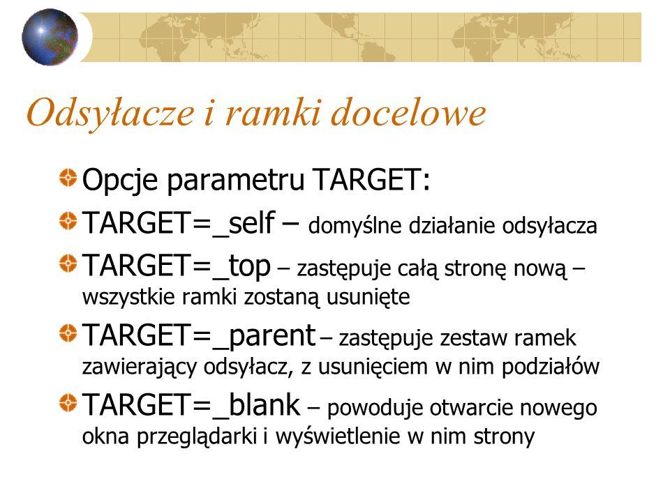 Odsyłacze i ramki docelowe Opcje parametru TARGET: TARGET=_self – domyślne działanie odsyłacza TARGET=_top – zastępuje całą stronę nową – wszystkie ra