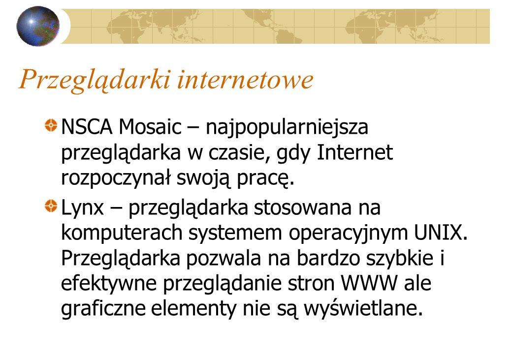 Przeglądarki internetowe NSCA Mosaic – najpopularniejsza przeglądarka w czasie, gdy Internet rozpoczynał swoją pracę. Lynx – przeglądarka stosowana na