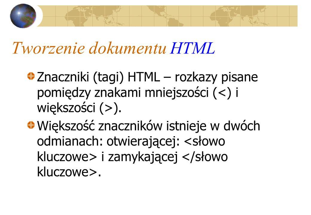 Tworzenie dokumentu HTML Znaczniki (tagi) HTML – rozkazy pisane pomiędzy znakami mniejszości ( ). Większość znaczników istnieje w dwóch odmianach: otw