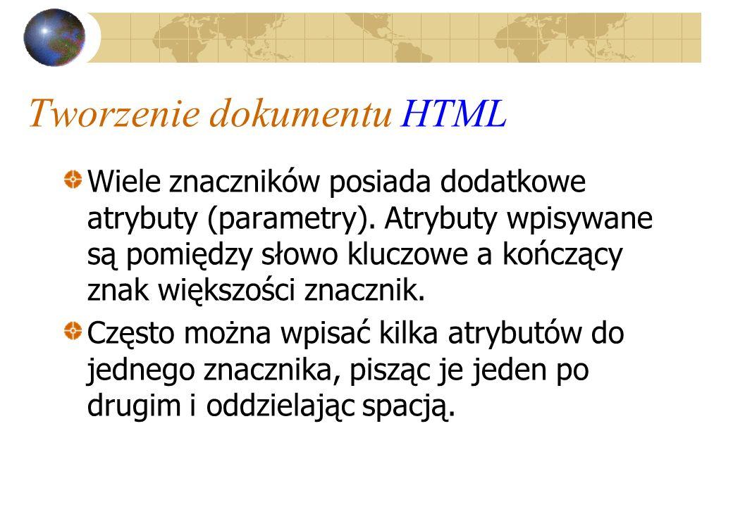 Tworzenie dokumentu HTML Wiele znaczników posiada dodatkowe atrybuty (parametry). Atrybuty wpisywane są pomiędzy słowo kluczowe a kończący znak większ